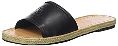 Tommy Hilfiger Leather Flat Mule, Sandales Bout Ouvert Femme, (Black 990), 39 EU