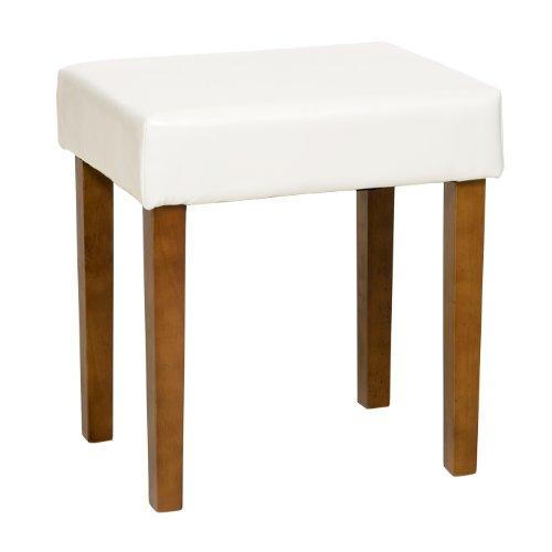 Marke Neu Handgefertigt Harte woodstool in Creme Kunstleder, Med Holz Bein