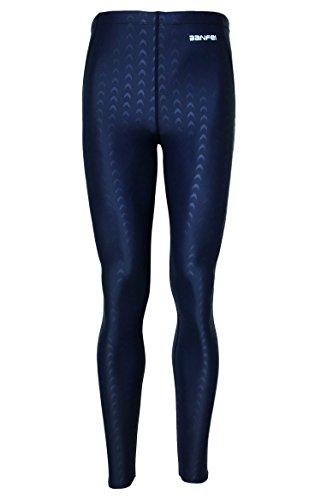 BANFEI Hombre Mujer Bañador de Natación Profesional Pantalones Largos Playa Swimwear Secado Rápido EU XL Azul(línea azul)