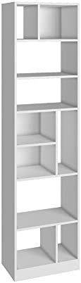 BRV MÓVEIS MDP Multi Use Side Shelves, Bookcase; Open Closet, BE 839-06, White, H180.5 x D47.5 x W29.4 cm, Eas