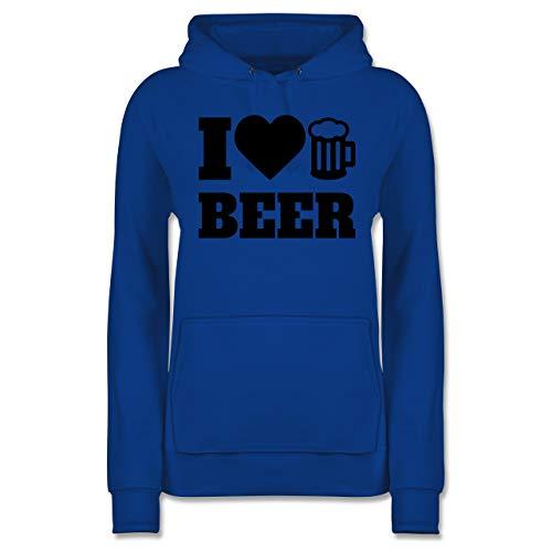 Shirtracer Oktoberfest Damen - I Love Beer - schwarz - L - Royalblau - JH001F - Damen Hoodie - Bier Hoodie-beutel