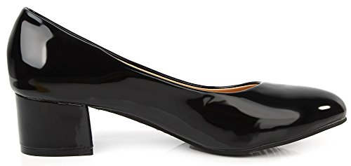 AgeeMi Shoes Damen Slip on Spitz Zehe Niedriger Absatz Klassische Pumps Schwarz