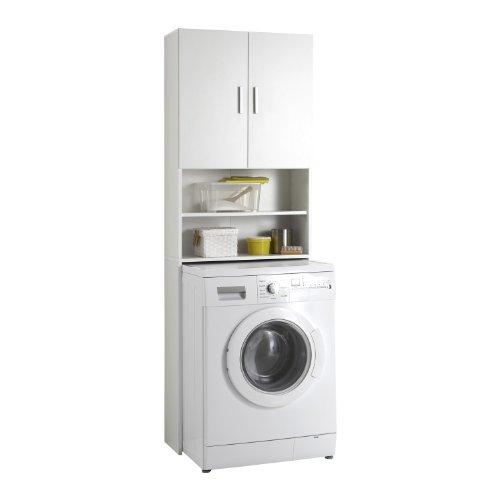 Unbekannt fmd möbel l913-001 olbia 2.0 lavatrice, asciugatrice, sovra-wc armadietto economico con 2 ante in legno, bianco, 64 x 26 x 190 cm