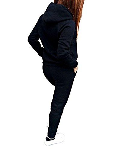 Automne Hiver Femme Chandail Pantalons de Sport Casual 2 Pièce Manches Longues Pull à Capuche Pantalon Longues Gym Yoga Jogging Fitness pour Ensemble Fille Survêtement Noir