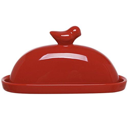 MyGift Bird décoratifs Beurrier en céramique et couvercle Coque