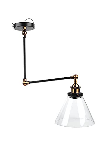 NetBoat Retro Wall lights, E27 40W Adjustable Antique Brass Glass