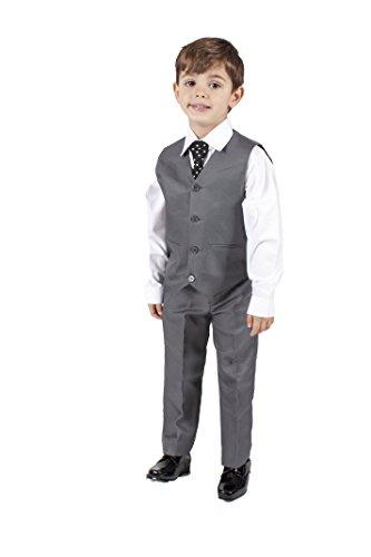 Jungen Teen Kostüm Für - Romario, hochwertiger, 4-teiliger Jungen-Anzug, mit Weste, grau Gr. 4-5 Jahre, grau