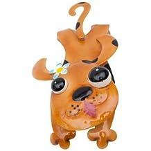 """'Valla colgador """"Wauwi metal perro Multicolor lacado marrón Valla Decorar Jardín, motivo de animales decoración"""
