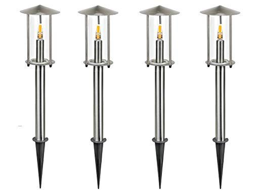 LED Gartenleuchte Wegeleuchte Vico im 4er Set mit Erdspieß Edelstahl/Glas Außenleuchte Leuchte