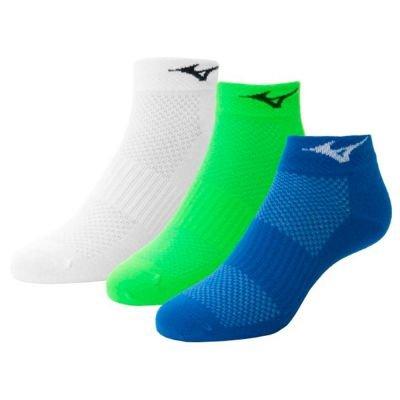 Mizuno - Pack 3 Calcetines Tobilleros Mizuno - Blanco - Verde - Azul,