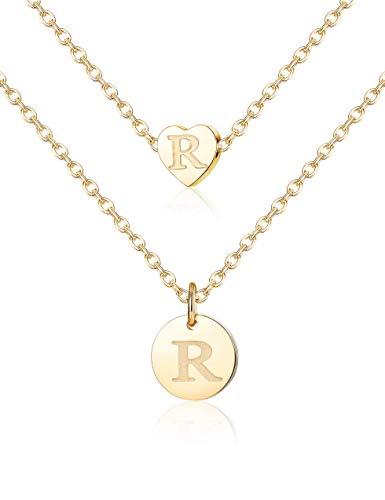 YADOCA Edelstahl Brief Halskette für Frauen Mädchen Initial Alphabet Runde Scheibe Herz Anhänger Halskette zierliche personalisierte Halskette (Initial Halskette Kind)