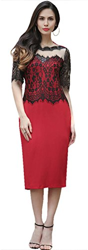 Jeansian Femme ete Coutures en dentelle Manches Courtes Robe Women's Lace sleeve Stitching Elegant Evening Cocktail Party Dresses WHS462 red