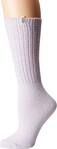 UGG Women's Rib Knit Slouchy Crew Sock, Lavender Fog, O/S (Uggs Womens Knit)