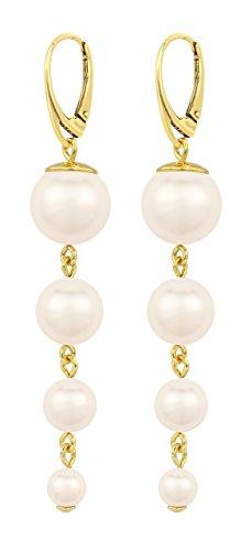 ARLIZI Damen Ohrringe aus Sterling Silber Vergoldet mit Perlen Creme 1336 Sterling Creme