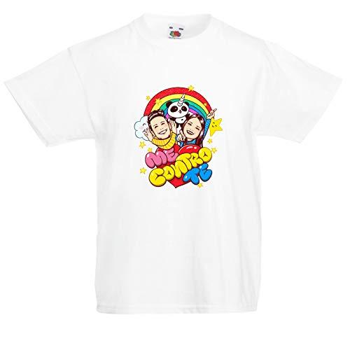 T-shirt me contro te bianca magliette cotone uomo donna bambino ragazzo maglia t shirt (7-8 anni)
