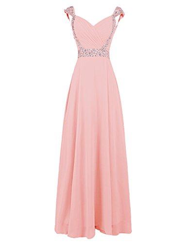 Dresstells, Robe de soirée de mariage/cérémonie/demoiselle d'honneur forme princesse col en cœur avec paillettes Blush