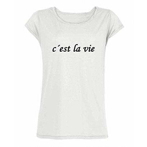 OwnDesigner handgefärtigt Oversized Rundhals Shirt c´est la vie Casual Frauen Bluse kurzärmlig (3-W215-Weiß-L)