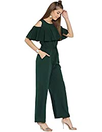 904f4ccb30ce cottinfab Solid and Printed Cold-Shoulder Jumpsuit