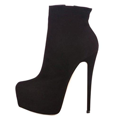 Womens Stiefel Heels (EKS Frauen Frühling Winter Ankle Seite Reißverschluss Nieten Dekoration Himmel High Heel Stiefel Schwarz 39 EU)
