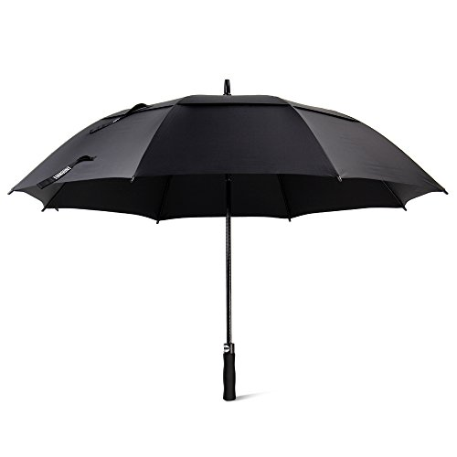 Grand Parapluie Automatique de Golf Noir TOMOUNT Solide Homme Femme Taille 62' Anti UV Anti Retournement Tempête Vent
