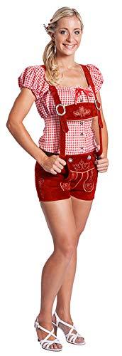 FROHSINN Damen Trachten Lederhose kurz, Oktoberfest Kurze Trachtenlederhose Hoch Qualität Wildleder (ROT 38)