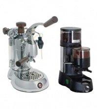 La Pavoni Chrome Combo Set 9:Handhebel Espressomaschine La Pavoni Professional SPH und La Pavoni Kaffemühle JDL