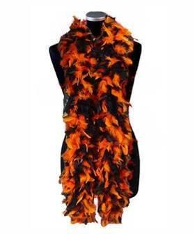 Federboa, ca. 180 cm lang, orange/schwarz