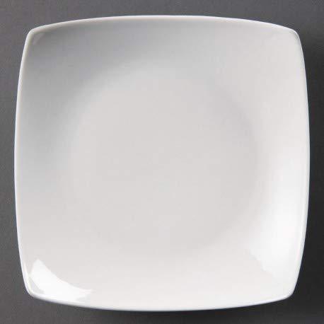 12 x Olympia Whiteware carré Bowled Service Assiettes 165 x 165 x 35 mm Porcelaine