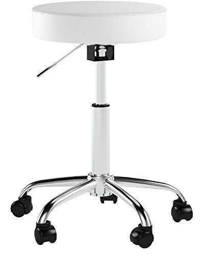 Rollhocker Drehhocker Weiß Kunstleder Hocker höhenverstellbar Drehbar Stuhl mit Rollen Farbauswahl - Typ 410