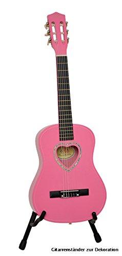 ts-ideen Kindergitarre 1/2 Akustik Klassik Gitarre mit Tasche und Gurt NEU (1/2, Pink mit Herz)