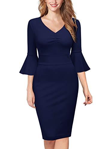 Miusol Elegante Trabajo Coctel Vestido de Lápiz para Mujer Azul Marino X-Large