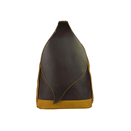 OBC Made in Italy Damen echt Leder Rucksack Lederrucksack Tasche Schultertasche Ledertasche Nappaleder Handtasche (Schwarz-Cognac 17x28x9)