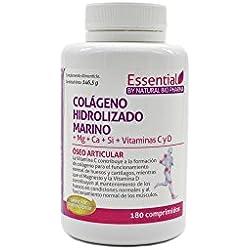 NATURAL BIO Colágeno hidrolizado Magnesio Calcio Vitamina C y D. Colágeno marino hidrolizado con magnesio. Suplementos vitamínicos para tus huesos, dolor en articulaciones.