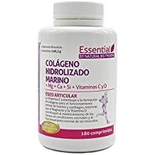 NATURAL BIO Colágeno hidrolizado Magnesio Calcio Vitamina C y D. Colágeno marino hidrolizado con magnesio