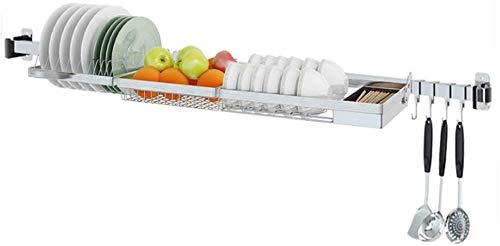 QYJpB Cuisine Rangement Cuisine Égouttoir 304 en acier inoxydable Égoutter Bowl Chopsticks Fruit Basket mural multi-fonctions de stockage Accueil gratuit punch Support à cuisine