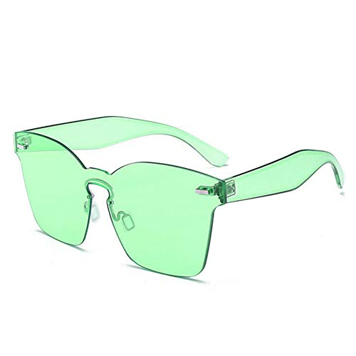 Wenkang Randlose quadratische Sonnenbrille für Frauen Design Oversized Shades klare Sonnenbrille Vintage Ladies Sunglass,9
