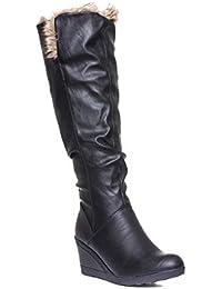 3a8a36e82c0a Truffle Womens Black Faux Fur Wedge Knee High Boot