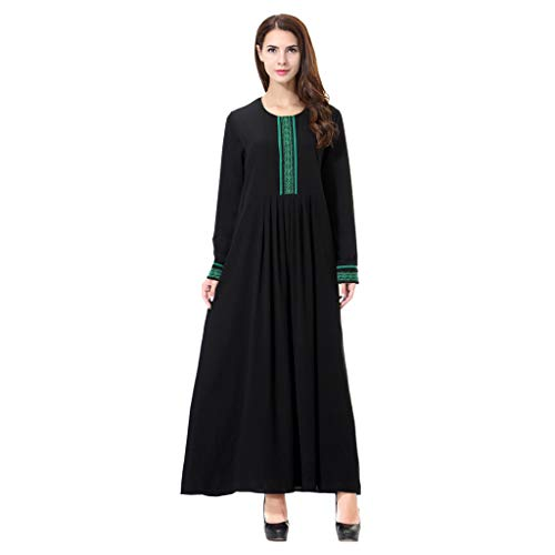 CUTUDE Elegant Frauen Volltonfarbe Stickerei Drucken Islamisch Kittel, Damen Muslim Kleidung Sommer Lange Ärmel Ramadan Bluse Mittlerer Osten Saudi Arabisch Traditionell Kleidung (Grün, ()