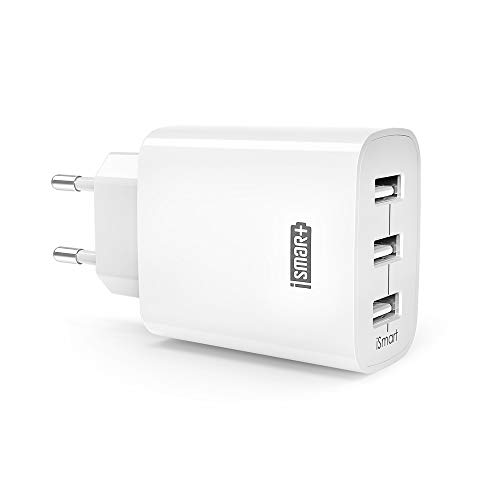 USB Ladegerät RAVPower 3-Port 30W 6A Ladeadapter mit iSmart Technologie für iPhone X XS XR XS Max 8 7 6 Plus, iPad Pro Air Mini, Galaxy S9 S8 Plus, LG, Huawei, HTC, Powerbank, MP3 usw. weiß