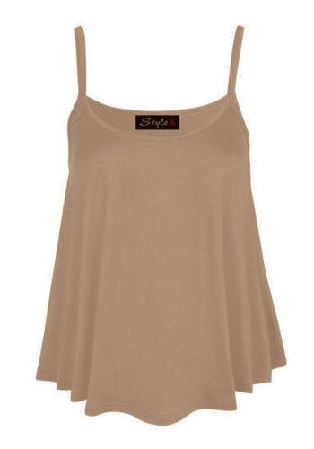 (womens swing strap cami vest top) Femmes balançoire sangle gilet haut (mocha) moka