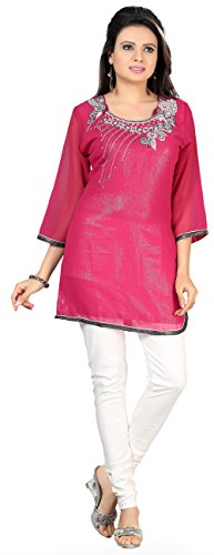 Indischen Tunika Ober Womens Lang Kurti Georgette Pailletten Indien Bekleidung Rosa