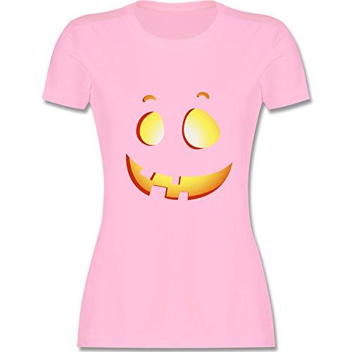 Shirtracer Halloween - Süßer Halloween-Kuerbis Kinder - Damen T-Shirt Rundhals Rosa