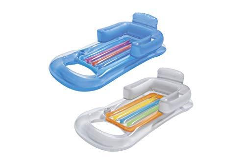Bestway Matelas pneumatique fauteuil gonflable plage piscine ultra confort avec dossier et accoudoirs, 157 x 89 cm