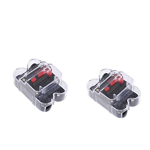 P Prettyia 2 x Inline Auto Leistungsschalter Manuellen Circuit Breaker 50A Reset Schalter Audio Sicherung mit Wasserdichte Gehäuse (50 Amp Circuit Breaker)