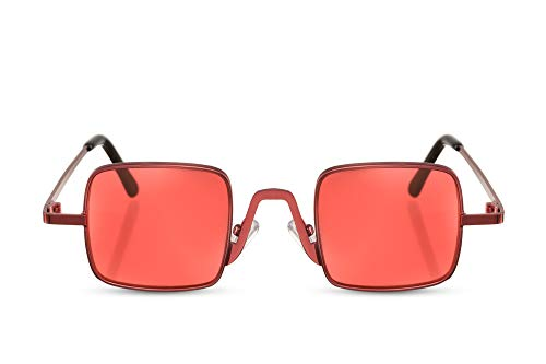Cheapass Damen-Sonnenbrille Vier-Eckig Rot Getönt Designer-Brille Metall Frauen