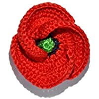 Red poppy brooch jewelry handmade crochet gift for her for him pin flower nature