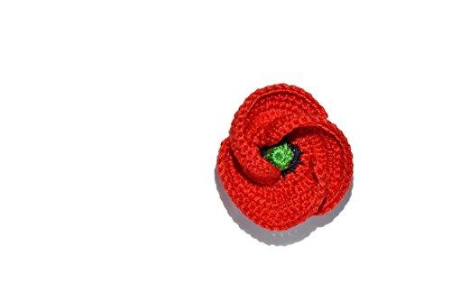 Roter Mohn Brosche Schmuck handgemachte Häkelarbeit Geschenk für ihn Pin Blume Natur (Mode Rolling Pin)