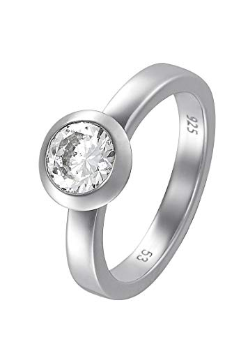 JETTE Silver Damen-Ring Basic 925er Silber rhodiniert 1 Zirkon silber, 55 (17.5)