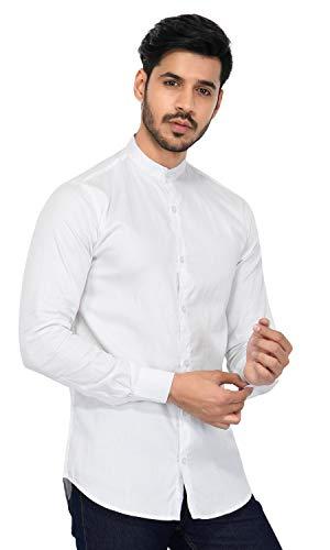 U-TURN Men's Cotton Solid Chinese Collar X-LARGE Shirt White