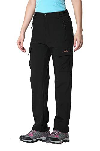 Clothin Damen Cargohose mit Fleece gefüttert Softshell-Hose - wasserabweisend und windabweisend, Damen, schwarz, 12 (35.5-37.5W*30L/Regular)